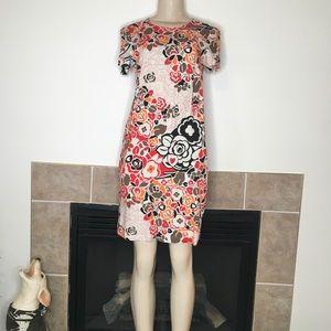 Bialcon Red, Orange, Black, & Brown Floral Dress